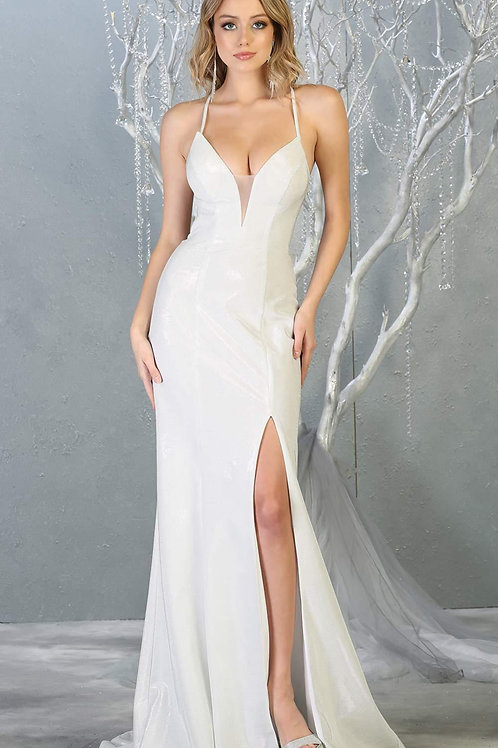 Ivory Sheath Bridal Gown With Slit Size 2