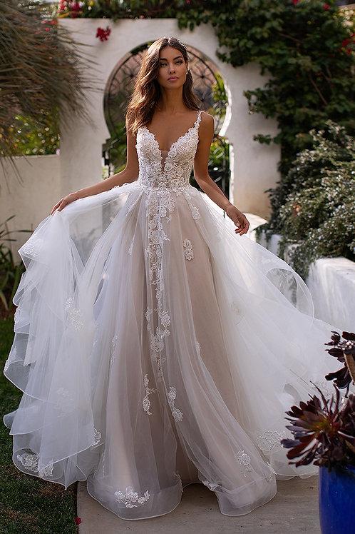 Ivory/Cashmere/Rose Lace Applique Bridal Gown