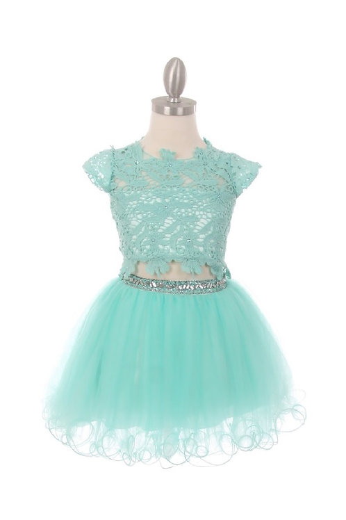 Girls Aqua Two Piece Lace Dress Size 16