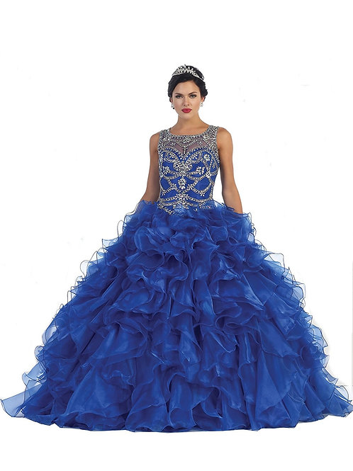 Royal Blue Ruffled Ball Gown Size 6