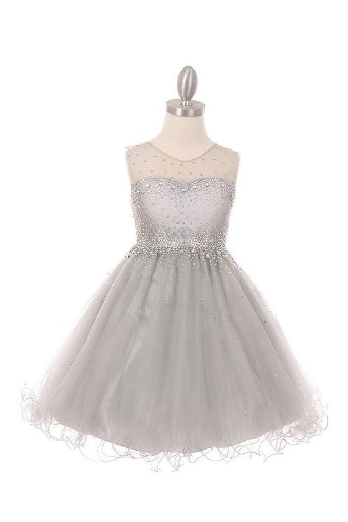 Girls Silver Jeweled Short Dress Size 12