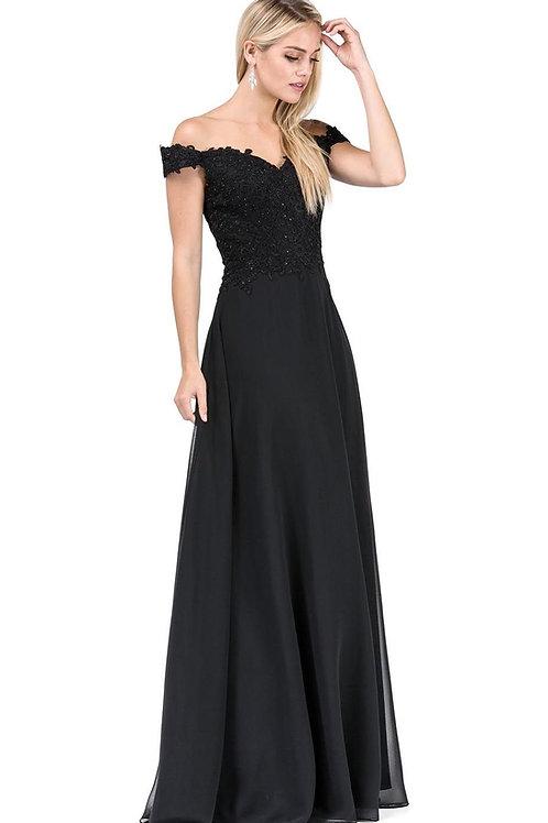 Black Lace Top Off Shoulder Long Dress Size L