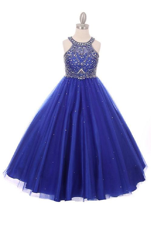 Girls Royal Blue Embellished Long Dress Size 14