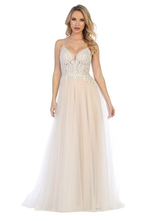 Ivory Nude Jeweled A-Line Bridal Gown Sizes S, L, XL