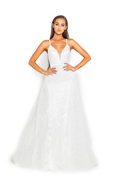 White Sparkle Bridal Gown With Detachable Train