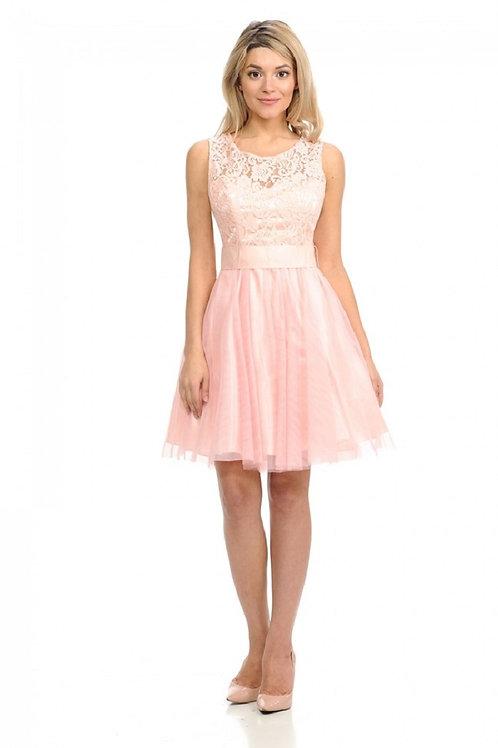 Blush Lace Top Short Dress Size S