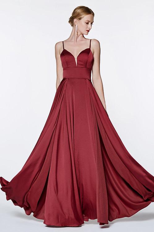 Burgundy Satin Long Dress