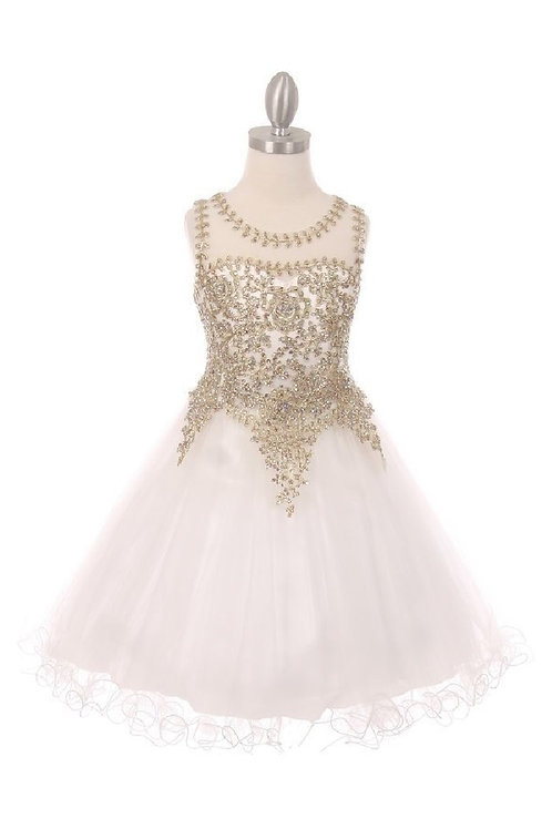 Girls White & Golden Embroidered Short Dress