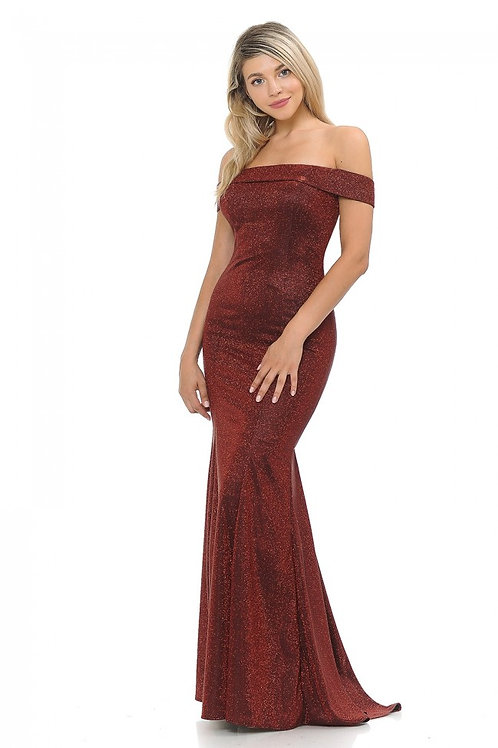 Wine Off The Sholder Metallic Fit & Flare Long Formal Dress Size XL
