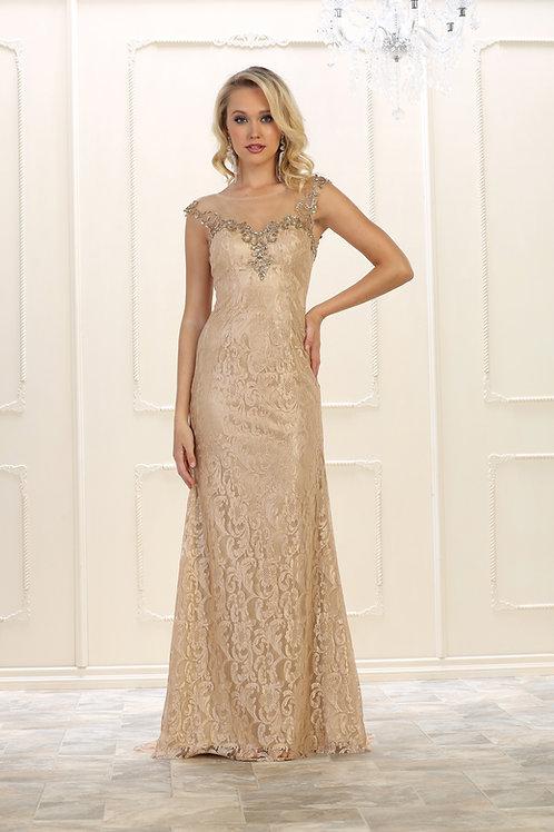 Champagne Lace Long Dress Size 12