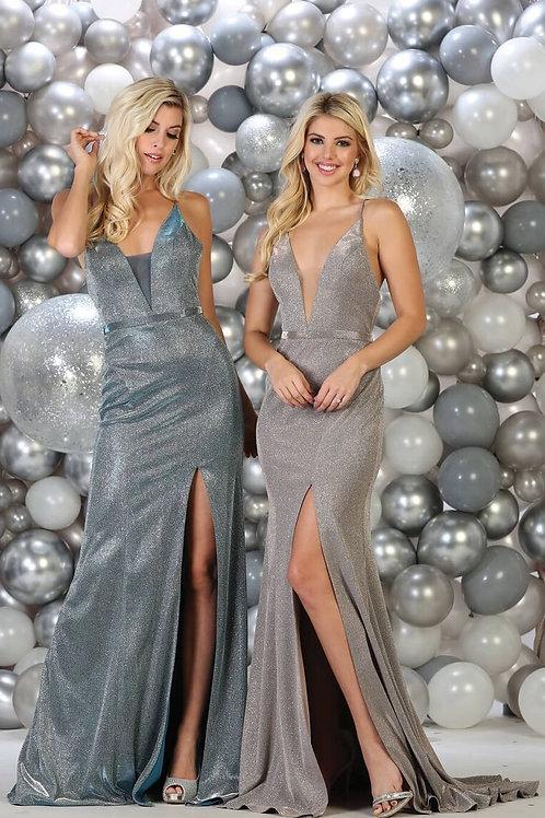 Turquoise Metallic Long Dress Size 10