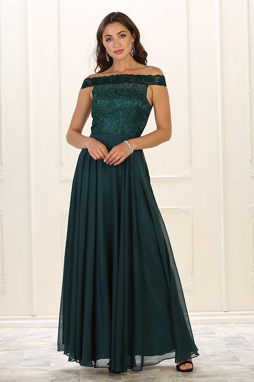Hunter Green Lace Top Long Dress Size 8, 14