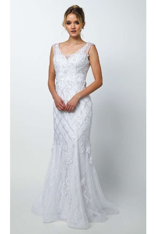Off White Lace Mermaid Bridal Gown Size S
