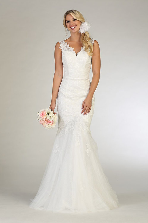 Ivory Lace Fit-n-Flare Bridal Gown Size 12