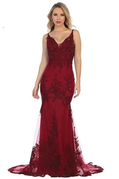 Burgundy Lace Applique Long Dress Size S