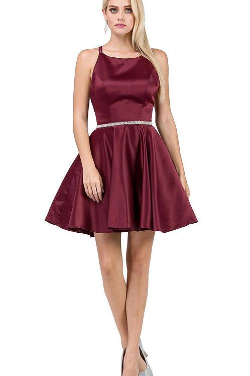Burgundy Belted Short Dress Size M