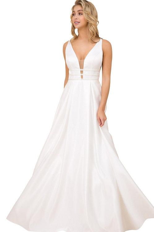 White Satin A-Line Bridal Gown Size 2XL