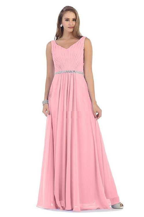Dusty Rose Belted Long Dress Size 24