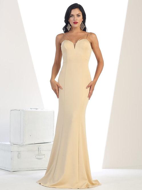 Champagne Long Dress Size 4, 6, 8, 10