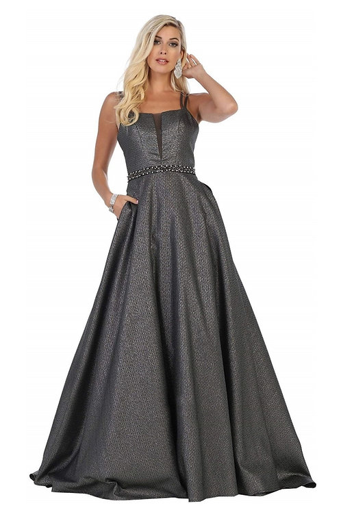Charcoal Shimmer Long Dress Size 8
