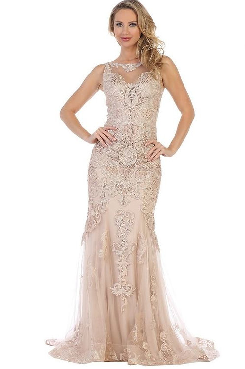 Rose Gold Lace Fit & Flare Bridal Gown Size XL