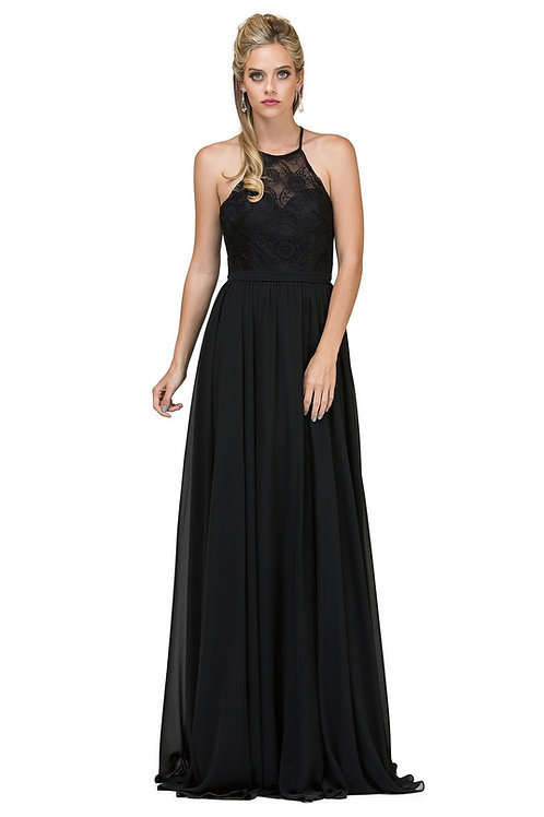 Black Halter Top Long Dress Size XL