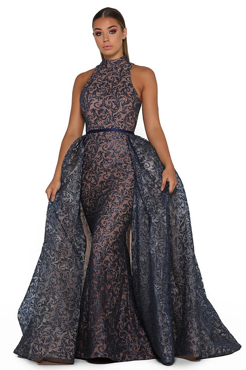 Navy Glitter Long Dress With Detachable Train Size 2