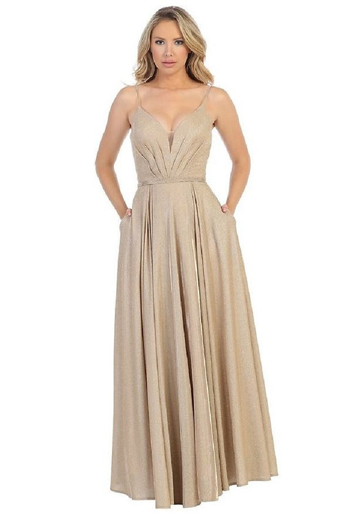 Gold Metallic Long Dress Size L