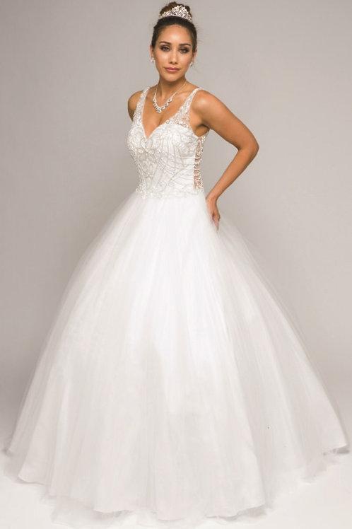 White Beaded Bridal Ballgown Size XS, S