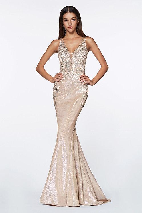 Champagne Metallic Long Dress Size 4