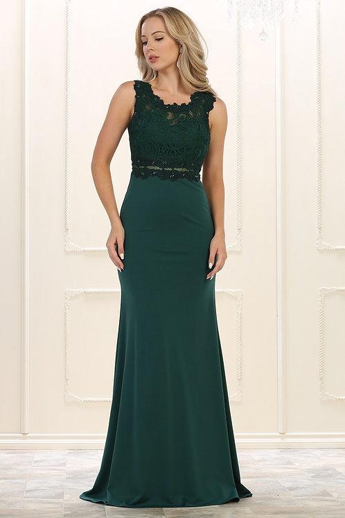 Hunter Green Lace Top Long Dress Size 6