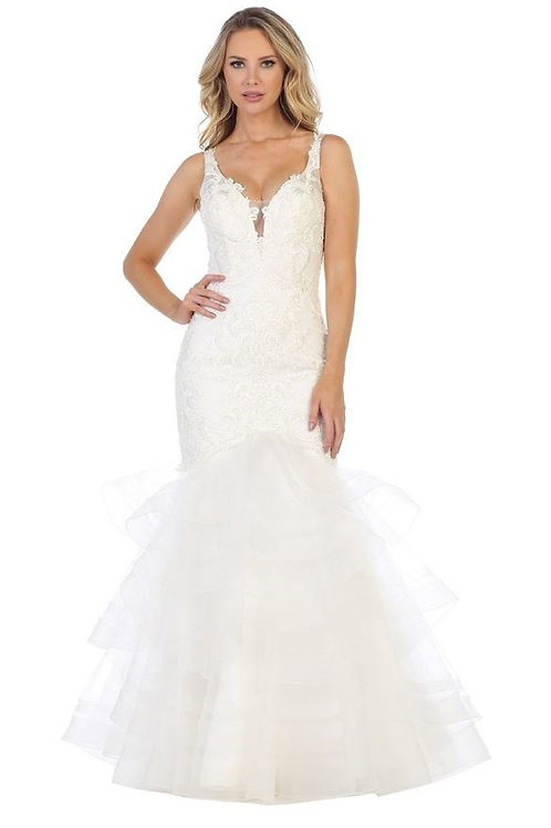 Off White Ruffled Mermaid Bridal Gown Size S & 3XL