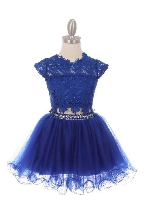 Girls Royal Blue Two Piece Lace Dress Size 14