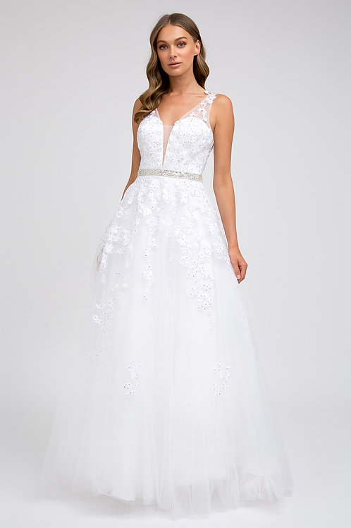 White Floral Lace Bridal Ball Gown Size M