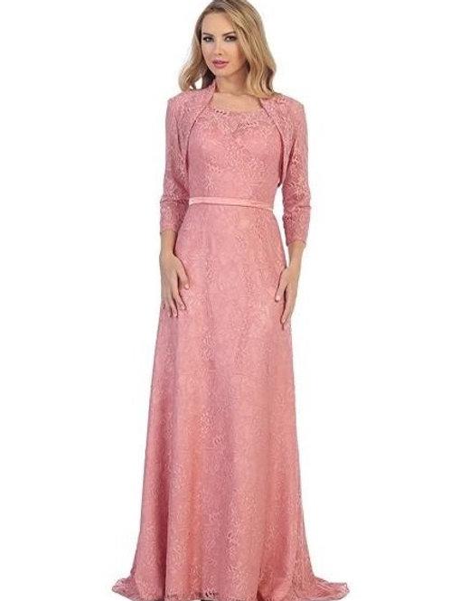 Rose Lace Long Dress With Jacket Size 2XL