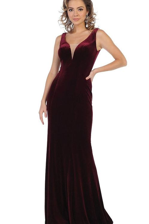 Burgundy Velvet Long Dress Size 8