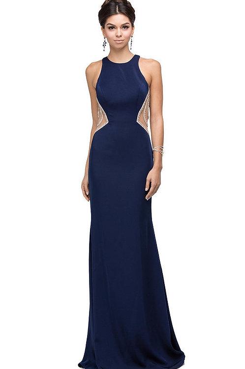 Navy Jeweled Back Long Dress Size L
