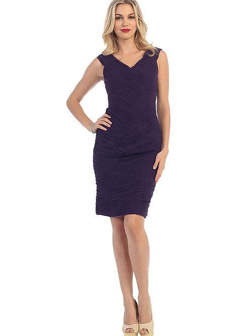 Eggplant Pleated Short Dress Size 4, 6, 8, 10