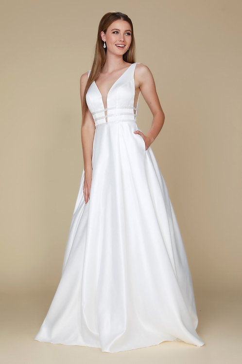 White Satin A-Line Bridal Gown Size 2XL