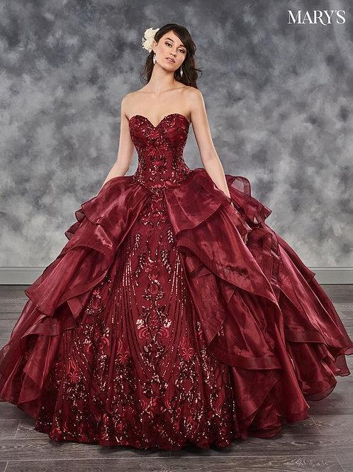 Burgundy Organza Ball Gown Size 2