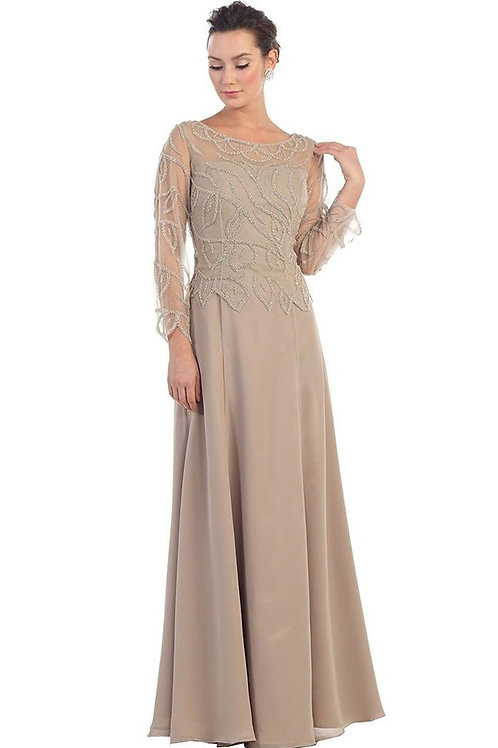 Cappuccino Beaded Long Dress Size M