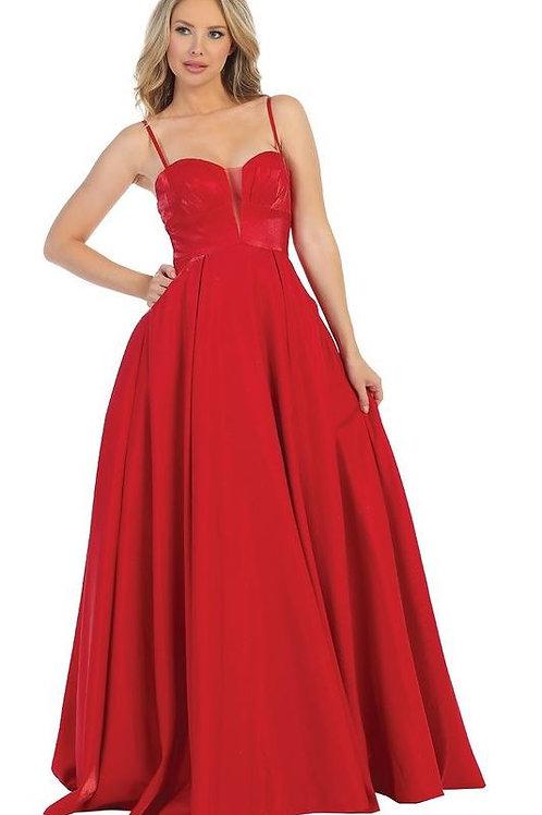 Red Metallic Long Dress Size M