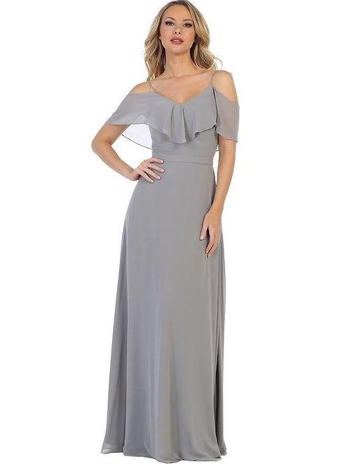 Silver Off Shoulder Long Dress Size XL