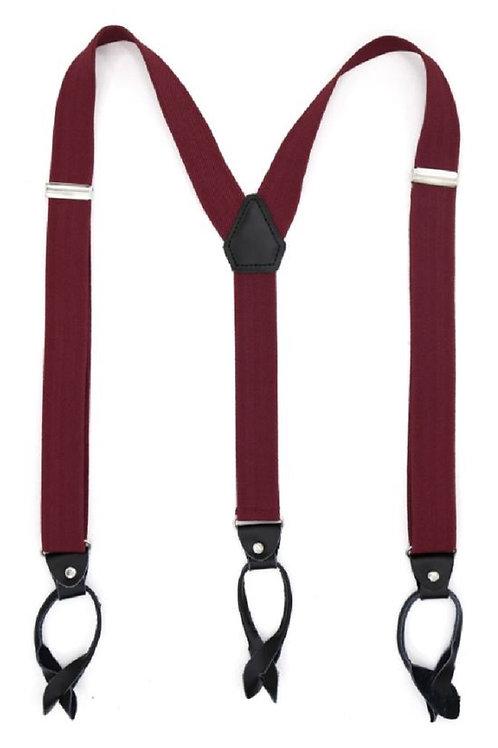 Burgundy Button End Suspenders