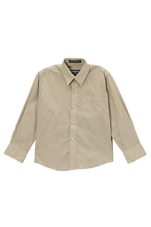 Boys Khaki Button Up Dress Shirt Size 4