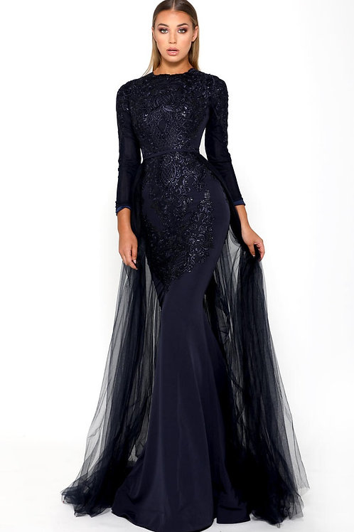 Navy Long Dress With Detachable Train Size 0