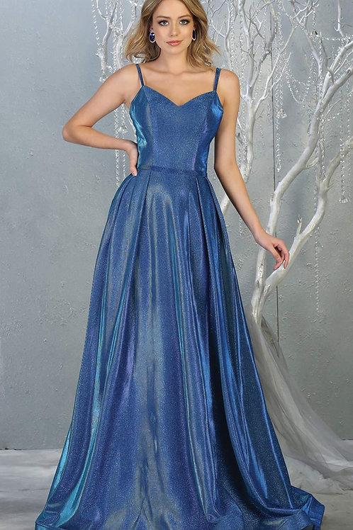 Royal Blue Metallic Long Dress Size 16