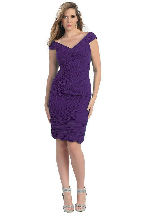 Eggplant Pleated Short Dress Size 4, 6, 8, 10
