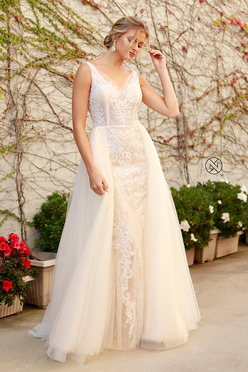 Nude & White Beaded Bridal Gown With Organza Train Size 10