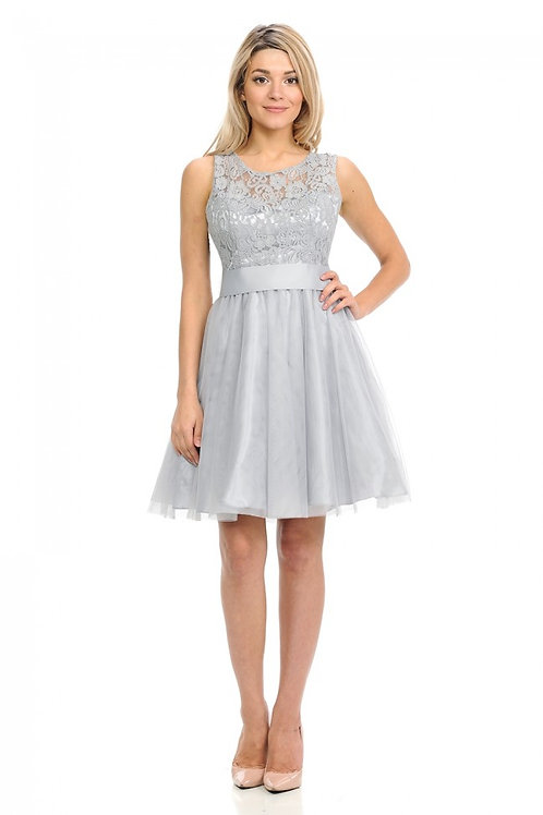Silver Lace & Tulle Short Dress Size 2XL
